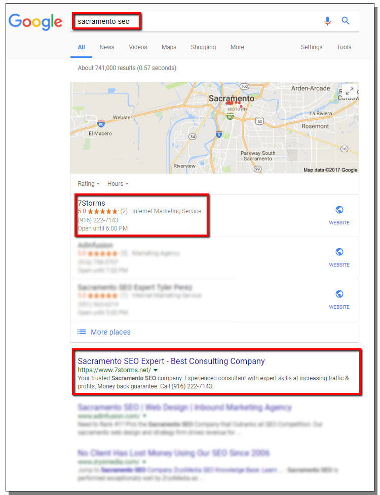 Google Ranking For Sacramento SEO Keywords