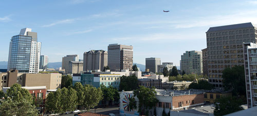 a skyline view of downtown San Jose, CA